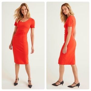 Boden Honor Ponte Dress Red Ruched Midi Pencil 4P